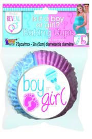 Gender Reveal cupcake bakjes 75 stuks