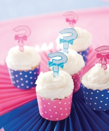 """Little Man or Little Miss"" cupcake prikkers"