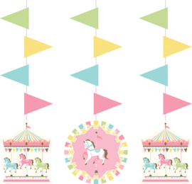 """Carousel Babyshower"" 3-delige hangslingers"