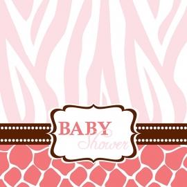 """""""Wild Safari Pink Babyshower""""  lunch servetten"""