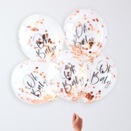 """""""Oh Baby"""" Rosé Gouden Confetti Gevulde Ballonnen"""