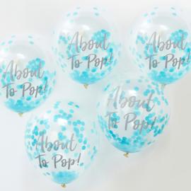 ''About to Pop'' Blauwe Confetti Gevulde Ballonnen