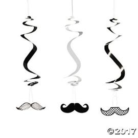 """""""Mustache Party"""" 3 delige hangslingers 12 stuks"""