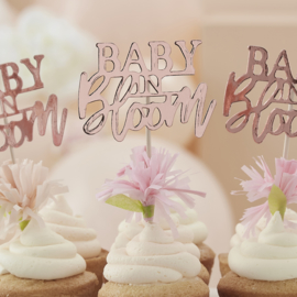 """Baby in Bloom"" cupcake toppers"