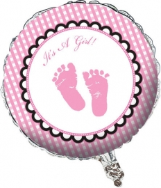 """Sweet Baby Feet Pink"" folie ballon (leeg!)"