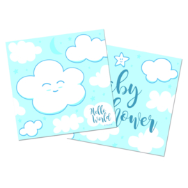 """Little Cloud  Babyshower"" Blue gebak servetten"