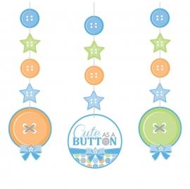 """Cute as a Button Boy"" 3-delige hangslingers"