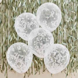 """Botanical Baby"" Witte Confetti Gevulde Ballonnen"