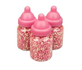 Babyflesjes roze gevuld met roze/witte muisjes (12 stuks)