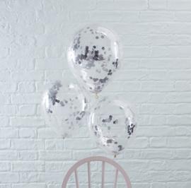 Zilver Confetti Gevulde Ballonnen
