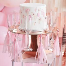 Rosé gouden taart standaard met glas houders