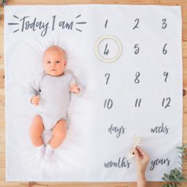 Baby Milestone Blanket met houten markeerset