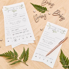 """Botanical Baby"" advies kaartjes"
