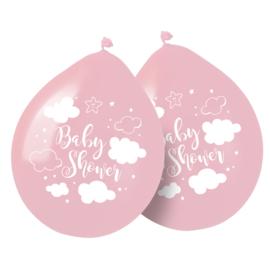 """""""Little Cloud"""" Babyshower Pink ballonnen 8 stuks"""
