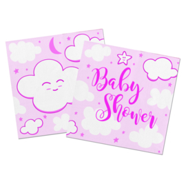 """Little Cloud Babyshower"" Pink gebak servetten"