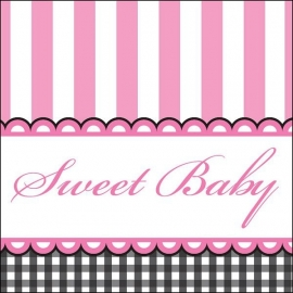"""Sweet Baby Feet Pink"" gebak servetten"