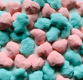Roze gom hartjes en blauwe gom wolkjes (250 gram) OP=OP!