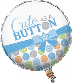 """Cute as a Button Boy"" folie ballon (leeg!)"