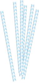 Blauwe gestreepte papieren rietjes, 20 stuks