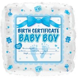 Geboorte certificaat folie ballon Baby Boy (leeg!)