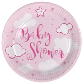 """Little Cloud Babyshower"" Pink gebak bordjes"