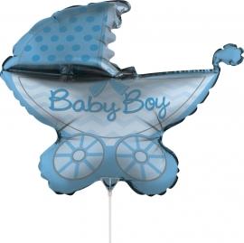 'Kinderwagen Baby Boy' Folie Ballon     (76 cm)