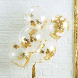 Gouden Ster Confetti Gevulde Ballonnen