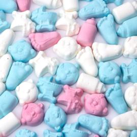 Roze/Blauw/Witte foam snoepjes 250 gram