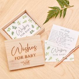 """""""Botanical Baby"""" Wishes 4 the Baby kaartjes in houten bewaardoosje"""