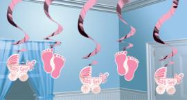 Sweet Baby Feet Pink glans hangslingers