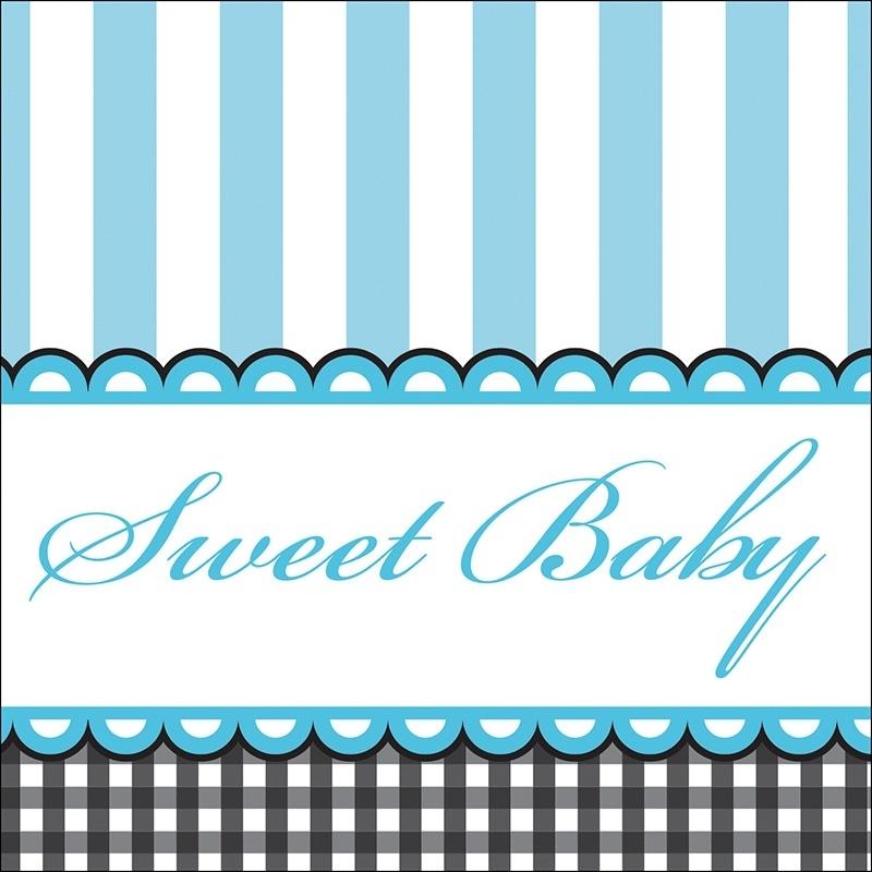 """Sweet Baby Feet Blue"" gebak servetten"