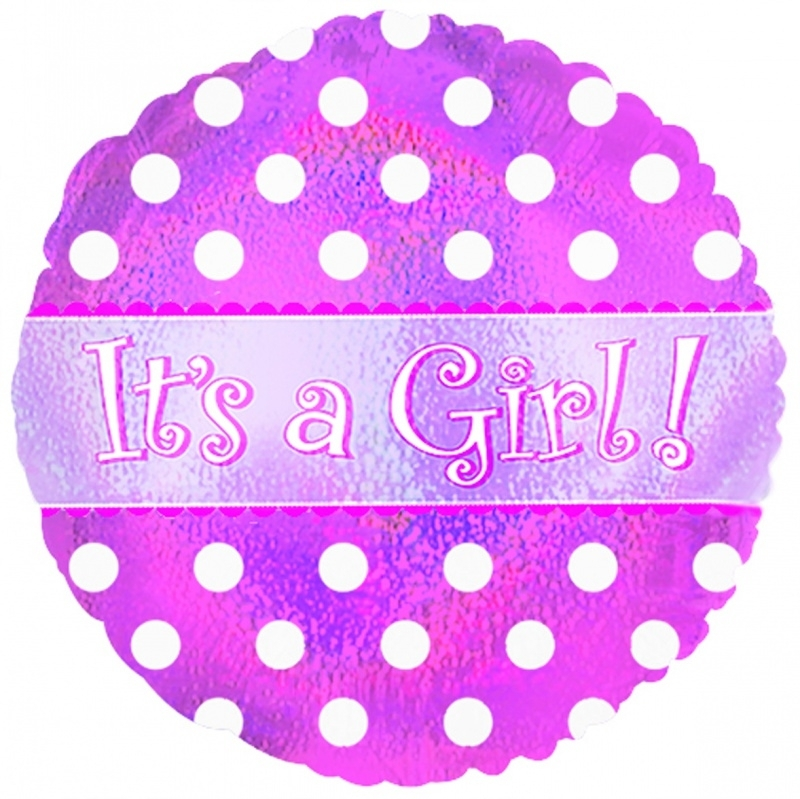 """It's a Girl Dots Holographic"" folie ballon (leeg!)"