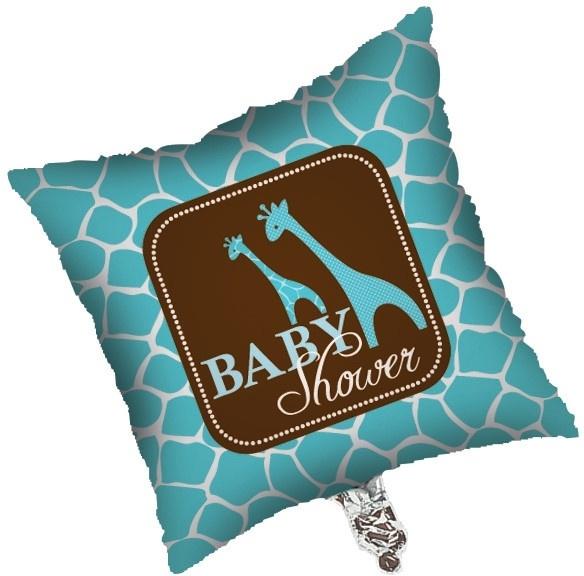 """Wild Safari Blue Babyshower"" folie ballon 45 cm (leeg!)"