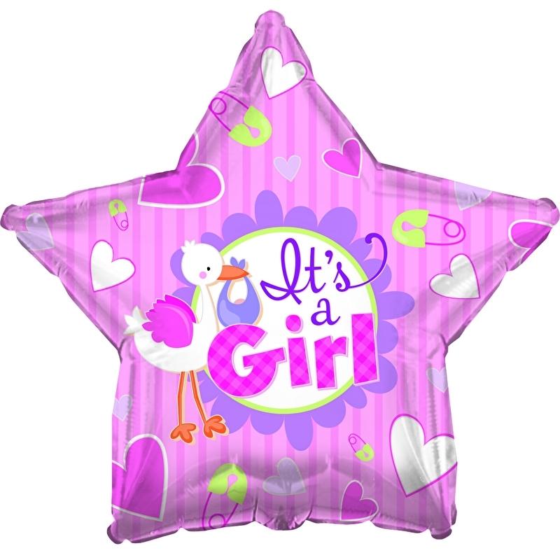 """""""It's A Girl"""" folie ballonnen (leeg)"""