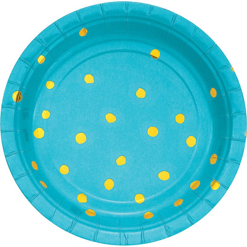 """Blue Golden Dots"" gebak bordjes"