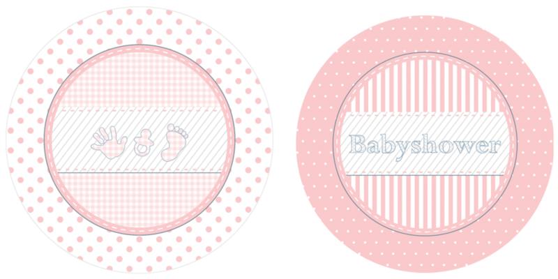 """Babyshower Pink"" gebak bordjes"