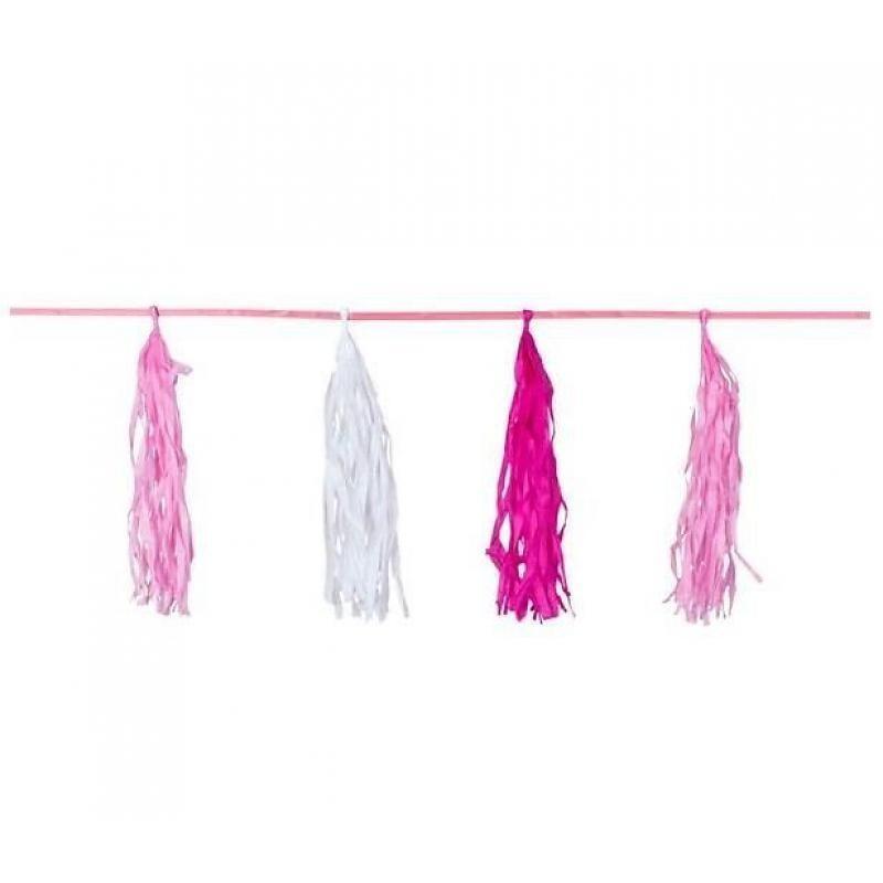 Roze/witte Tassel slinger