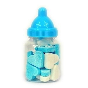 Babyflesjes blauw gevuld met vruchtenhartjes (12 stuks)