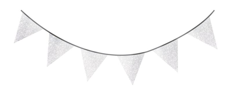 """""""Sparkling Silver"""" vlaggetjes slinger"""