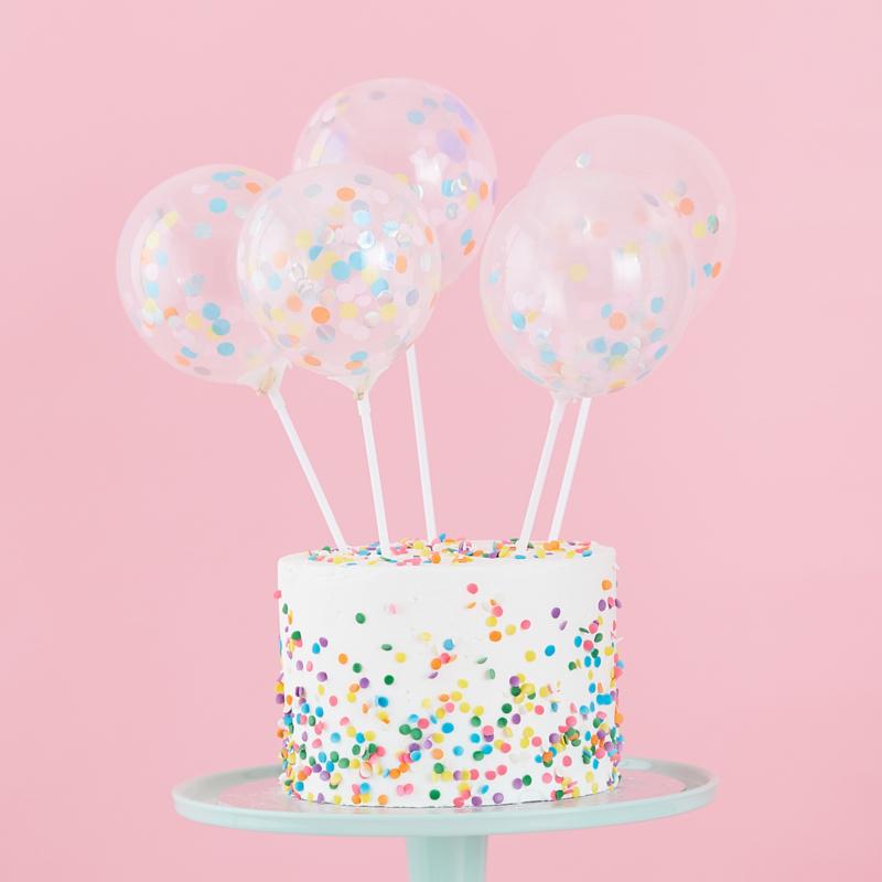 Confetti Ballonnen Cake Topper