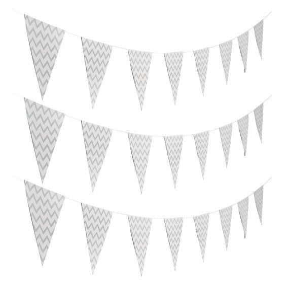 Zilver/wit Chevron vlaggetjes slinger