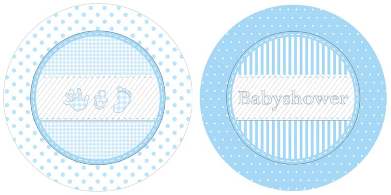 """Babyshower Blue"" gebak bordjes"