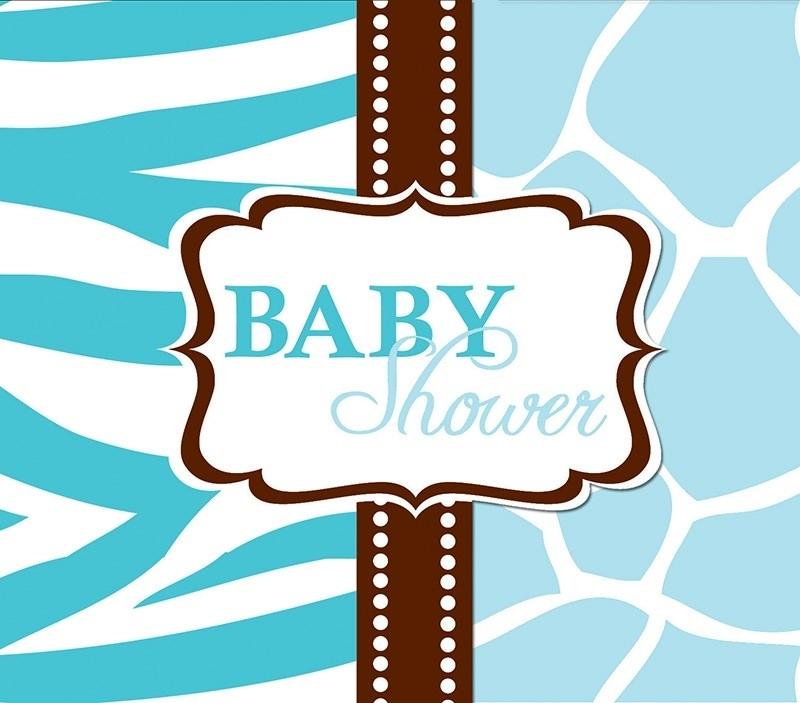 """""""Wild Safari Blue Babyshower"""" uitnodigingen"""