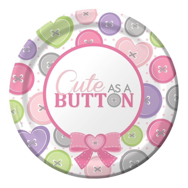 """""""Cute as a Button Girl"""" gebak bordjes"""