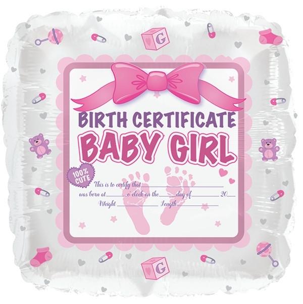 Geboorte certificaat folie ballon Baby Girl (leeg!)
