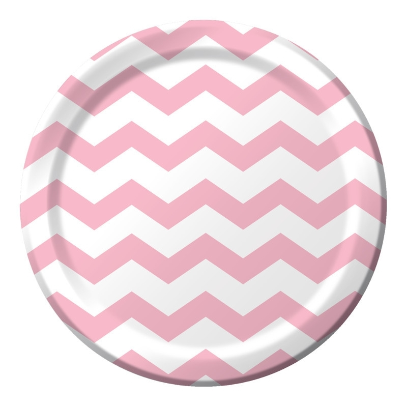 """Baby Pink Chevron"" lunch bordjes"