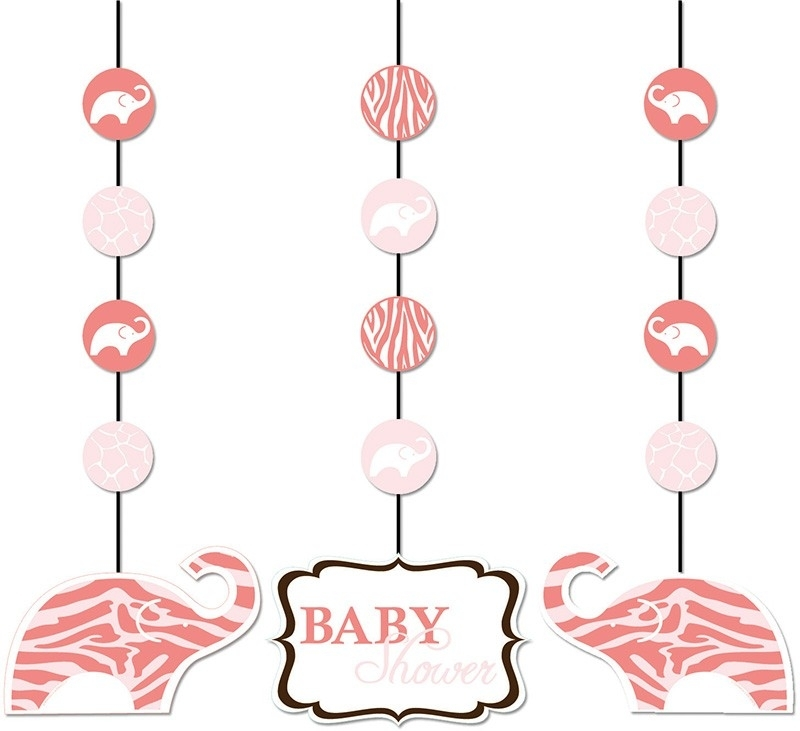 """""""Wild Safari Pink Babyshower"""" 3 delige hang slingers"""