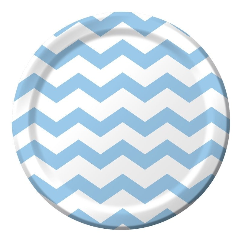 """Baby Blue Chevron"" lunch bordjes"