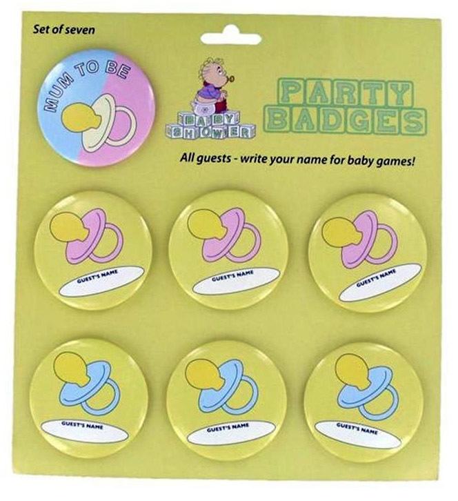 """""""Babyshower"""" badges 7 stuks"""