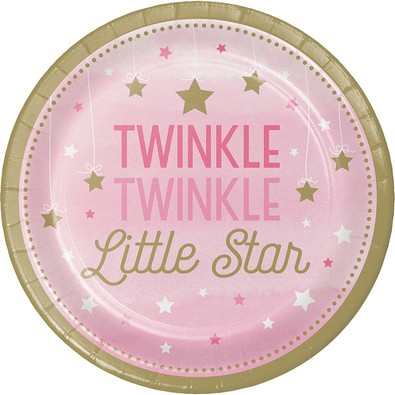 """Twinkle Twinkle Little Star"" Girl gebak bordjes"